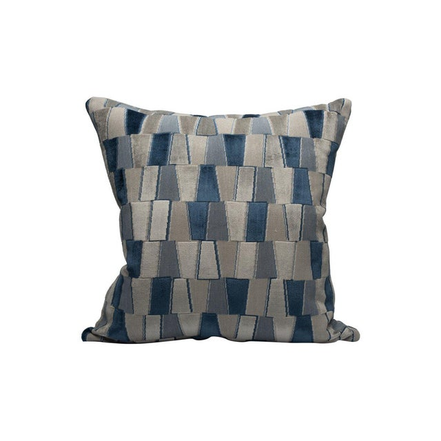 Transitional Scalamandre Facets Pillow, Sapphire For Sale - Image 3 of 3