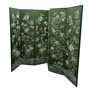 Early 20th Century Antique Chinoiserie Silk Screen For Sale