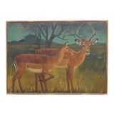 Image of 20th Century French Country Monumental Art 5.5 Foot Deer Painting For Sale