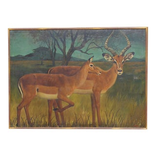 20th Century French Country Monumental Art 5.5 Foot Deer Painting For Sale