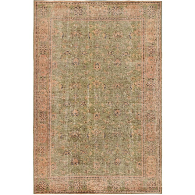 "Pastel Vintage Turkish Overdyed Rug - 6'9"" X 10' - Image 1 of 2"