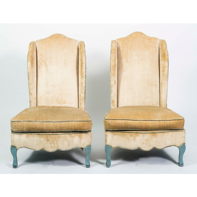 French Provincial Style Winged Slipper Chairs - A Pair - Image 8 of 8