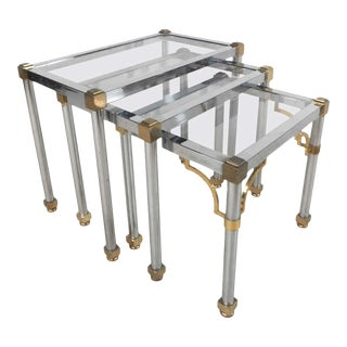 1960s Hollywood Regency Style Chrome and Brass Tables - Set of 3 For Sale