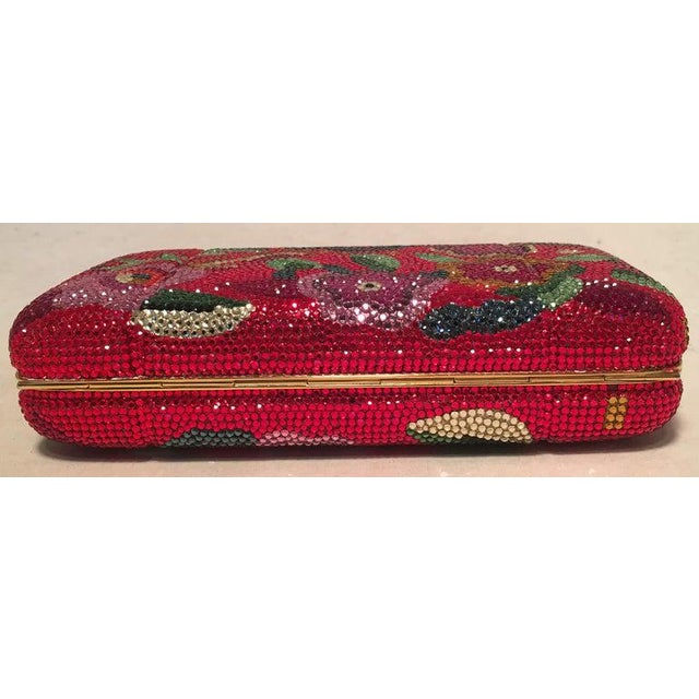 Boho Chic Judith Leiber Red Swarovski Crystal Floral Print Minaudiere Evening Bag Clutch For Sale - Image 3 of 9