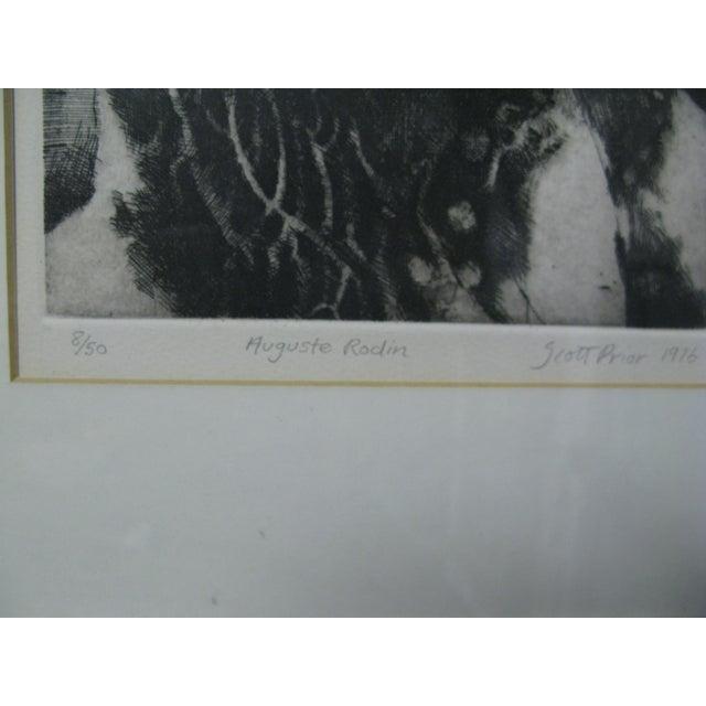 1976 Original Scott Prior Etching of Rodin - Image 4 of 9