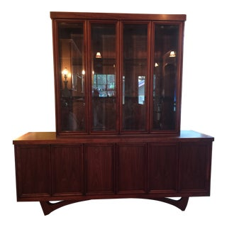1960s Mid-Century Modern Walnut Credenza Hutch For Sale