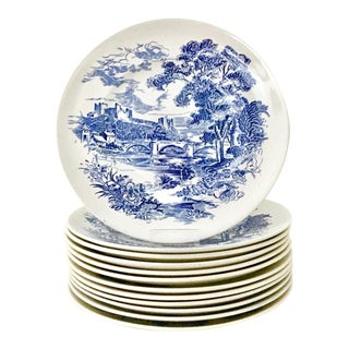 "Wedgwood England Dinner Plates ""Countryside Blue"", 1950s - Set of 12"