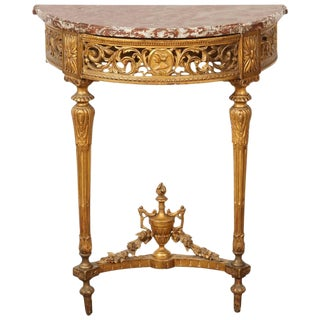 French Gilded Demilune Console For Sale