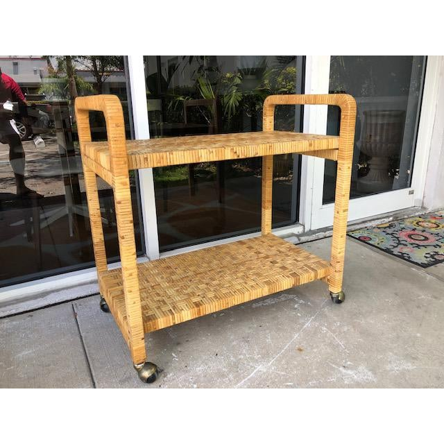 1980s Boho Chic Rattan Bar Cart For Sale - Image 11 of 11