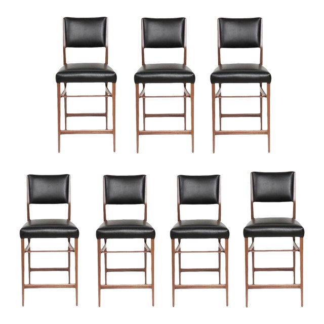 Set of Seven Maze Walnut Counter Stools For Sale