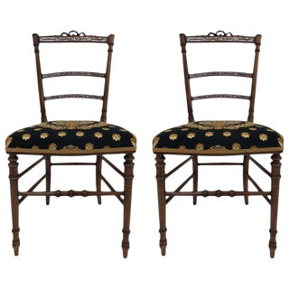 Pair of Louis XIV Style Mother-of-Pearl Inlay Chairs For Sale