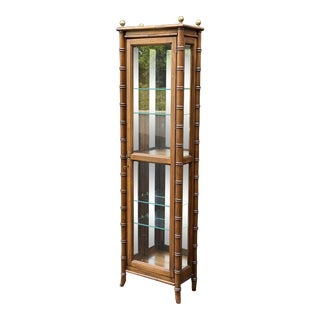 Lane Faux Bamboo Curio Cabinet For Sale