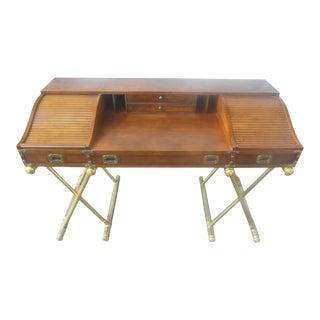 Vintage Drexel Oxford Square Series Campaign Desk Faux Brass Legs For Sale