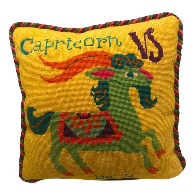 Jonathan Adler Style Vintage Celestial Capricorn Needlepoint Pillow For Sale In Miami - Image 6 of 6