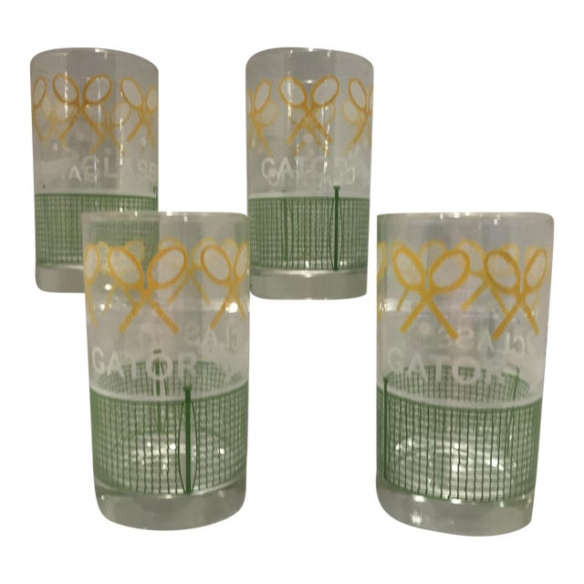 Vintage 1980's Green Yellow and White Alligator Tennis Cocktail Bar Tumbler Glasses - Set of 4 - Image 1 of 7
