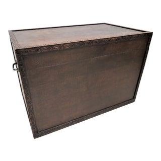 Large Vintage English Carved Wood Trunk, Storage or Blanket Box For Sale