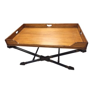 Vintage Drexel Heritage Coffee Table With X Base and Butler's Tray Top For Sale
