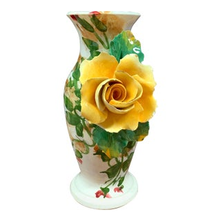 Vintage Italian Majolica Rose Vase For Sale