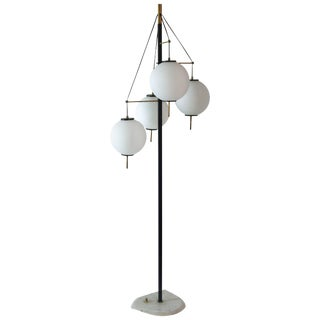 1960s Opaline Glass, Lacquered Iron, and Marble Stilnovo Floor Lamp