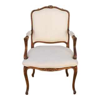 Vintage Mid Century Carved Fruitwood Bergere Chair For Sale