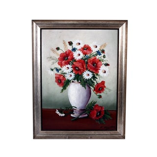 E. Davids Acrylic Floral Still Life on Canvas Board With Silver Gilt Wood Frame