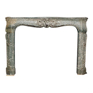 Mid 19th Century Louis XV Style Carved Green and Gray Marble Mantel For Sale