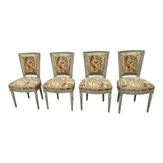 Antique Louis XVI Style Painted Side Chairs - Set of 4