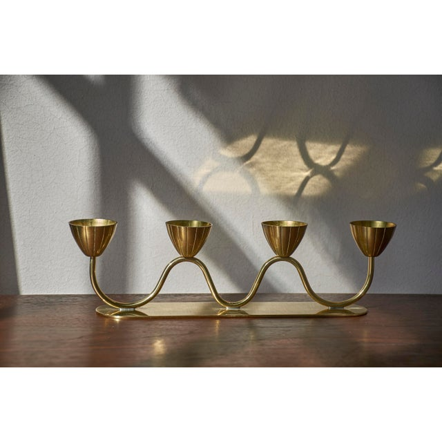 Vintage Gunnar Ander for Ystad Metall Swedish Modern Candelabra, 1950's For Sale In Detroit - Image 6 of 9