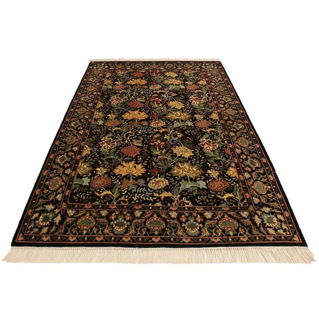 Contemporary Pak-Persian Freddie Black/Pink Wool Rug - 4'1 X 6'1 For Sale - Image 3 of 8