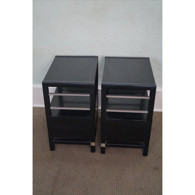 Asian Tung Si Ebonized Black Teak Nightstands - Pair For Sale - Image 3 of 10