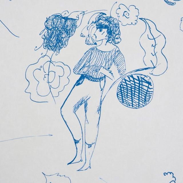 2020s Schumacher x Peg Norris: Jackie Gendel Toile De Femmes Wallpaper in Indigo For Sale - Image 5 of 7