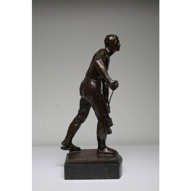 Early 20th Century Early 20th Century Bronze Steel Worker Figure on Marble Signed by Artist For Sale - Image 5 of 8