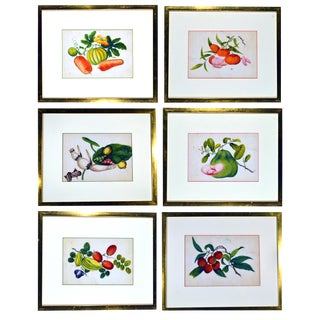 Mid-19th Century China Trade Watercolour Paintings of Vegetables - Set of 6 For Sale