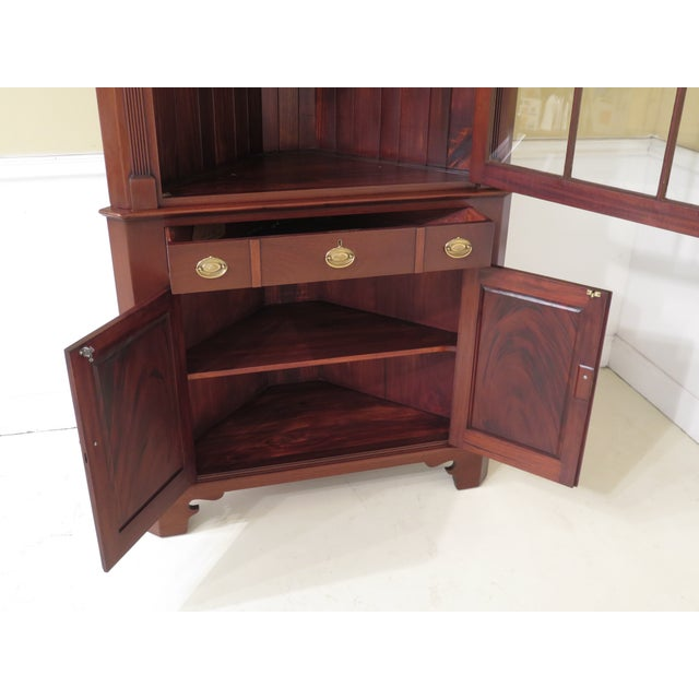 Chippendale 1950s Chippendale John Bair Mahogany Corner China Cabinet For Sale - Image 3 of 13