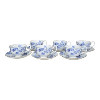 English Aynsley Elizabeth Rose Cups & Saucers - Set of 6 For Sale