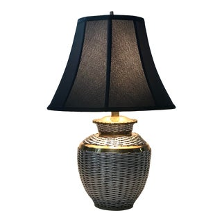 Brass Metal Wire Basket Weave Table Accent Lamp Vintage Mid-Century For Sale