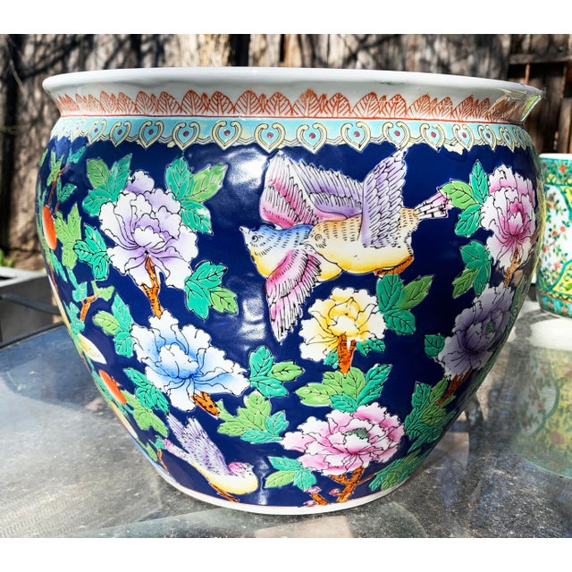 Blue Chinoiserie Porcelain Planter Pot With Koi Fish Interior Motif and Floral and Bird Exterior, c 1950s. Fish bowl,...