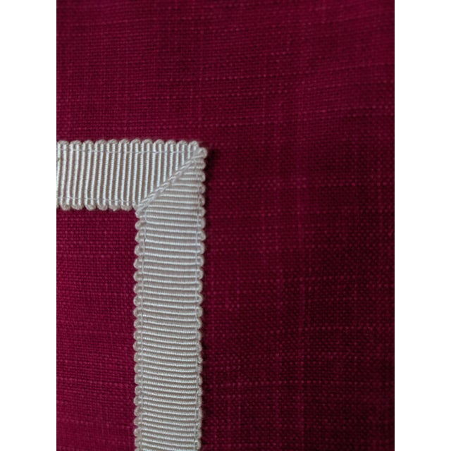 Textile Custom Magenta Pink Linen Pillow Cover For Sale - Image 7 of 12