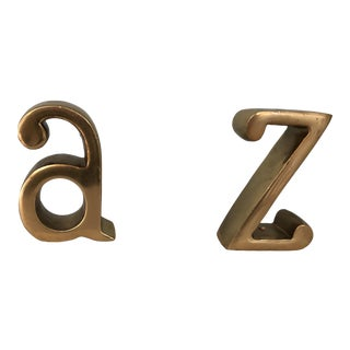 "Vintage Brass ""A"" ""Z"" Bookends on Marble Bases - a Pair For Sale"