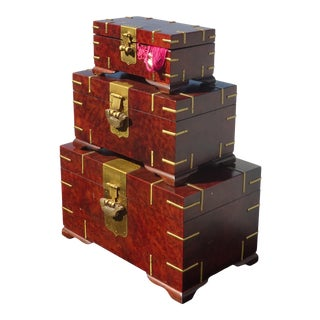 Set of Three Vintage Oriental Asian Jewelry Storage Boxes French Country For Sale