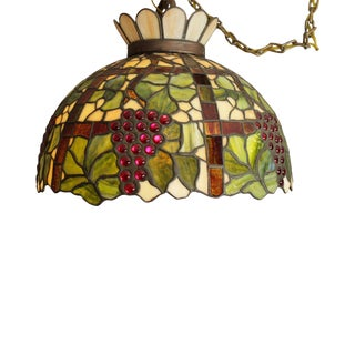 Tiffany Style Antique Stained Glass Fruit Pendant Light Chandelier For Sale