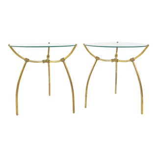 French Brass and Egg-Shaped Glass Side Tables, Early 20th Century - a Pair For Sale