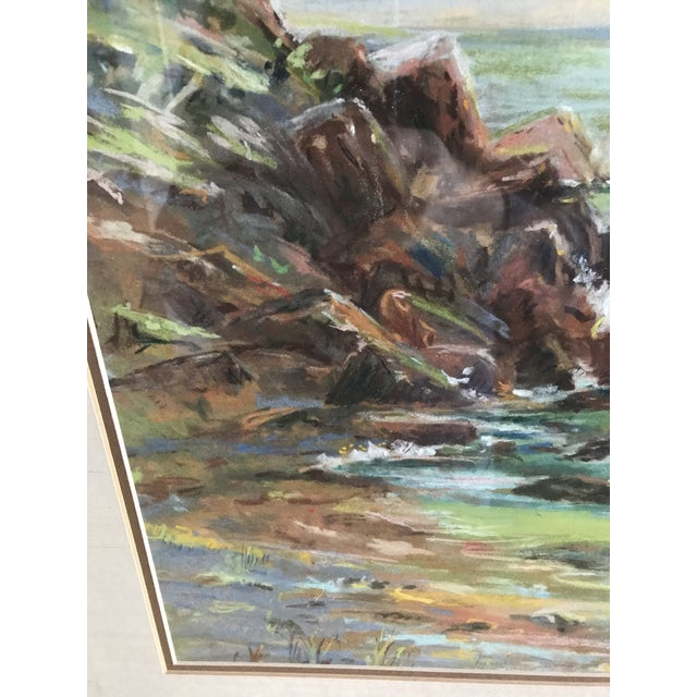 Vintage Mid-Century Colorful Pastel Seascape Drawing For Sale - Image 6 of 8