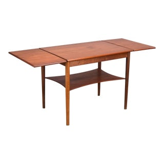 Rare Børge Mogensen Drop-Leaf Teak Side Table, Denmark 1950s For Sale