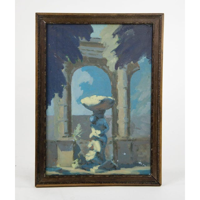 Blue Late 19th Century Antique Classical Courtyard Signed Oil on Cardboard Painting For Sale - Image 8 of 8
