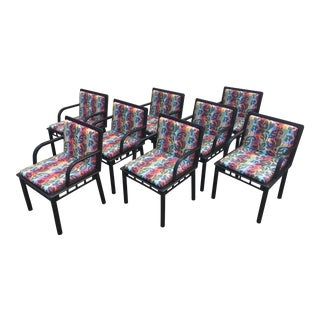 1980s Vintage Ettore Sottsass Bridge Dining Chairs for Knoll- Set of 8 For Sale