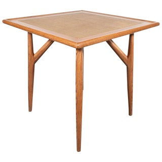Mid-Century Modern Sculptural White Oak Table With Wrapped Linen Top For Sale