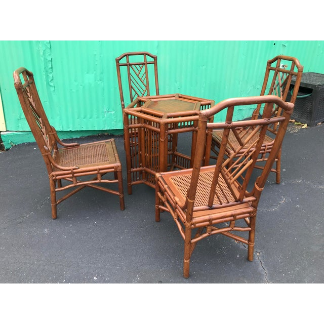 Vintage Brown Jordan Rattan Brighton Pavilion Style Table Four Chairs For Sale - Image 12 of 13