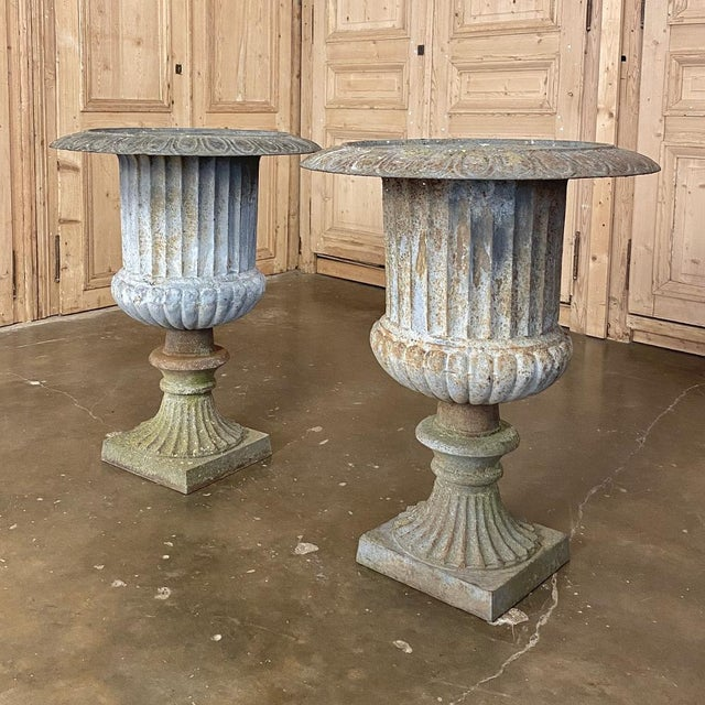 Pair Large 19th Century Cast Iron Jardinieres ~ Garden Vases are very well preserved for their age, and feature a lovely...