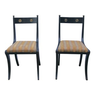 "Antique Regency Ebonized Wood ""Klismos"" Chairs - a Pair"